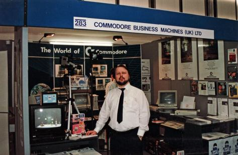 Stuart Williams on the Commodore UK stand at the PCW show, c1988
